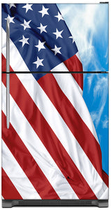 Majestic USA Flag Magnet Skin on Model Type Top Freezer Refrigerator