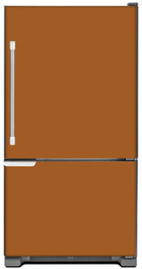 Metal Copper Color Magnet Skin on Model Type Bottom Freezer Refrigerator