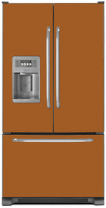 Metal Copper Color Magnet Skin on Model Type French Door Refrigerator with Ice Maker Water Dispenser