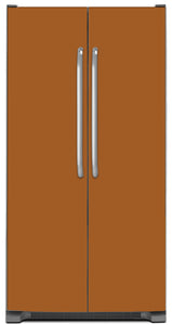 Metal Copper Color Magnet Skin on Model Type Side by Side Refrigerator