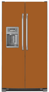 Metal Copper Color Magnet Skin on Model Type Side by Side Refrigerator with Ice Maker Water Dispenser
