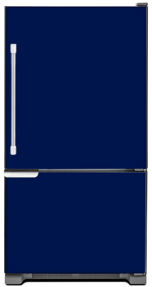Midnight Blue Color Magnet Skin on Model Type Bottom Freezer Refrigerator