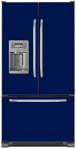 Midnight Blue Color Magnet Skin on Model Type French Door Refrigerator with Ice Maker Water Dispenser
