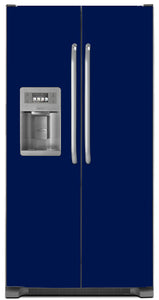 Midnight Blue Color Magnet Skin on Model Type Side by Side Refrigerator with Ice Maker Water Dispenser