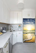 Load image into Gallery viewer, Narrow White Kitchen with Corner Sink White Cabinets Beach Sunrise Magnet Skin on Refrigerator