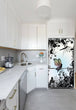 Load image into Gallery viewer, Narrow White Kitchen with Corner Sink White Cabinets Delightful Fairies Magnet Skin on Refrigerator