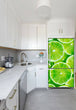 Load image into Gallery viewer, Narrow White Kitchen with Corner Sink White Cabinets Fresh Limes Magnet Skin on Refrigerator