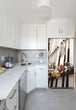 Load image into Gallery viewer, Narrow White Kitchen with Corner Sink White Cabinets Gone Fishing Magnet Skin on Refrigerator