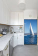 Load image into Gallery viewer, Narrow White Kitchen with Corner Sink White Cabinets Sailing Magnet Skin on Refrigerator