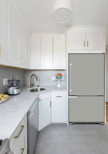 Narrow White Kitchen with Corner Sink White Cabinets Shark Gray Magnet Skin on Model Type Bottom Freezer Refrigerator