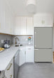 Load image into Gallery viewer, Narrow White Kitchen with Corner Sink White Cabinets Shark Gray Magnet Skin on Model Type Bottom Freezer Refrigerator