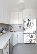 Load image into Gallery viewer, Narrow White Kitchen with Corner Sink White Cabinets Swirling Flowers Magnet Skin on Refrigerator
