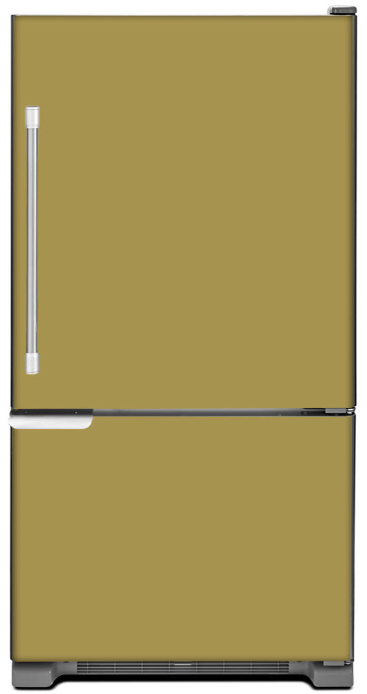 Olympic Gold Color Magnet Skin on Model Type Bottom Freezer Refrigerator