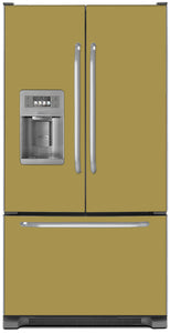 Olympic Gold Color Magnet Skin on Model Type French Door Refrigerator with Ice Maker Water Dispenser