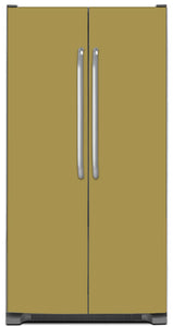 Olympic Gold Color Magnet Skin on Model Type Side by Side Refrigerator