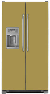 Olympic Gold Color Magnet Skin on Model Type Side by Side Refrigerator with Ice Maker Water Dispenser