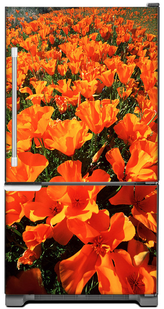 Orange Poppies Magnet Skin on Model Type Bottom Freezer Refrigerator