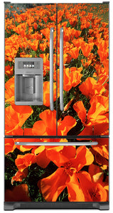 Orange Poppies Magnet Skin on Model Type French Door Refrigerator with Ice Maker Water Dispenser