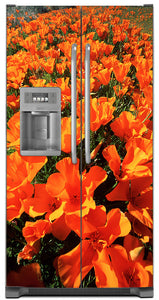 Orange Poppies Magnet Skin on Model Type Side by Side Refrigerator with Ice Maker Water Dispenser