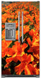 Load image into Gallery viewer, Orange Poppies Magnet Skin on Model Type Side by Side Refrigerator with Ice Maker Water Dispenser