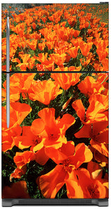 Orange Poppies Magnet Skin on Model Type Top Freezer Refrigerator
