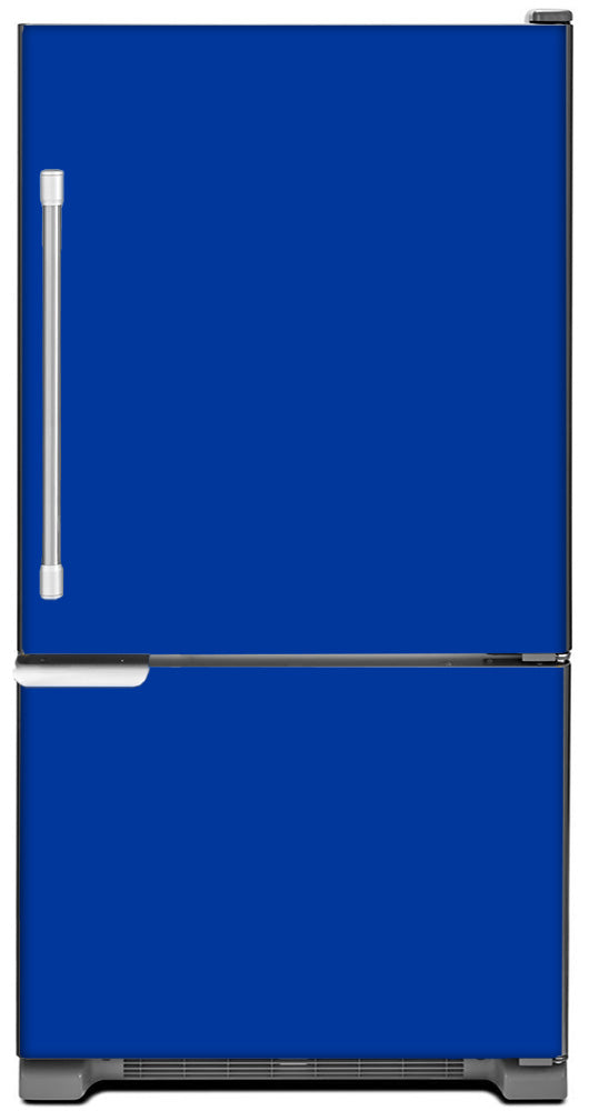 Royal Blue Color Magnet Skin on Model Type Bottom Freezer Refrigerator