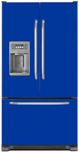 Royal Blue Color Magnet Skin on Model Type French Door Refrigerator with Ice Maker Water Dispenser