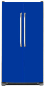 Royal Blue Color Magnet Skin on Model Type Side by Side Refrigerator