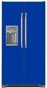 Royal Blue Color Magnet Skin on Model Type Side by Side Refrigerator with Ice Maker Water Dispenser