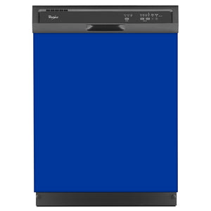 Royal Blue Color Magnet Skin on Black Dishwasher