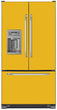 Load image into Gallery viewer, School Bus Yellow Color Magnet Skin on Model Type French Door Refrigerator with Ice Maker Water Dispenser