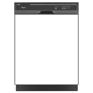 Semi Gloss White Color Magnet Skin on Black Dishwasher