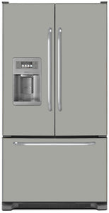 Shark Gray Color Magnet Skin on Model Type French Door Refrigerator with Ice Maker Water Dispenser