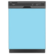 Load image into Gallery viewer, Sky Blue Magnet Dishwasher Cover Skin on Dishwasher with Black Control Panel and kick plate