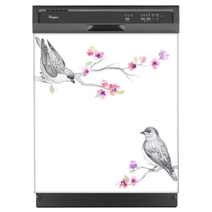 Song Birds Magnet Skin on Black Dishwasher