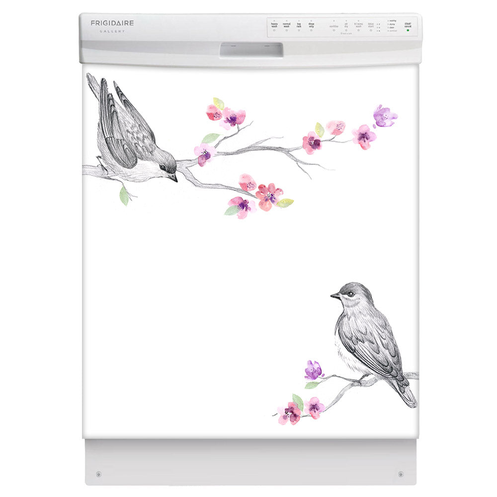 Song Birds Magnet Skin on White Dishwasher