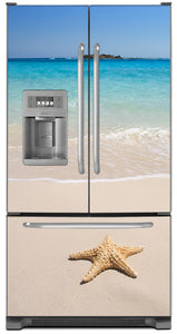 Starfish On Beach Magnet Skin on Model Type French Door Refrigerator with Ice Maker Water Dispenser