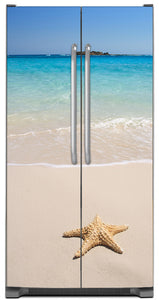Starfish On Beach Magnet Skin on Model Type Side by Side Refrigerator