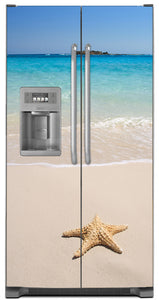 Starfish On Beach Magnet Skin on Model Type Side by Side Refrigerator with Ice Maker Water Dispenser