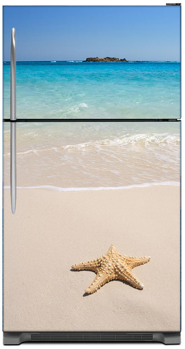 Starfish On Beach Magnet Skin on Model Type Top Freezer Refrigerator