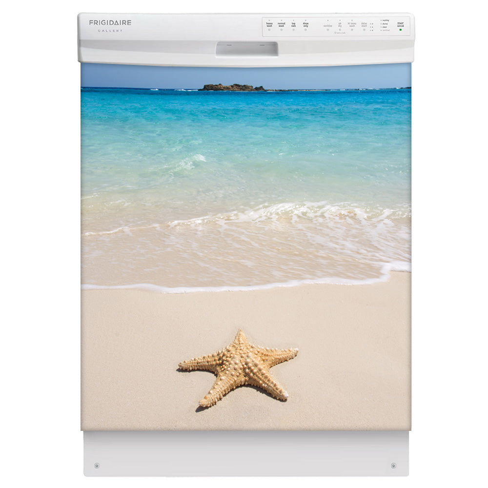 Starfish On Beach Magnet Skin on White Dishwasher