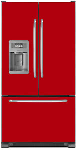 Strawberry Red Color Magnet Skin on Model Type French Door Refrigerator with Ice Maker Water Dispenser