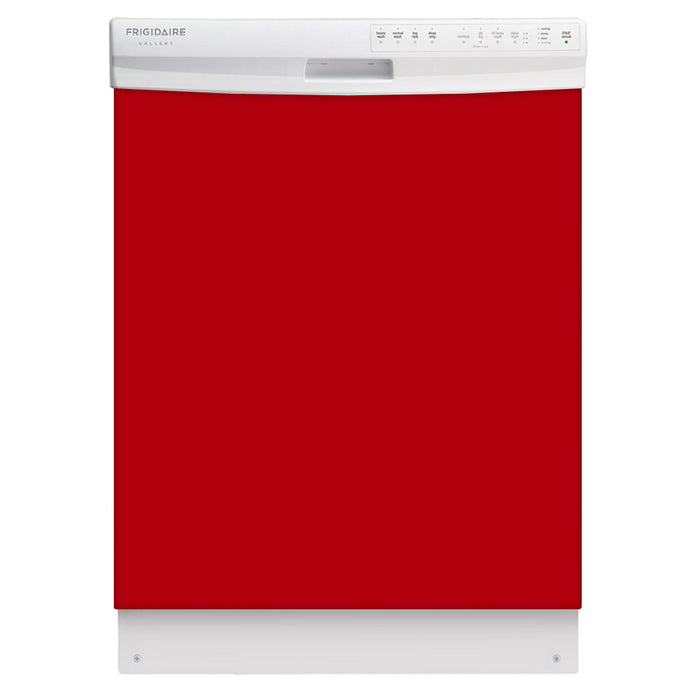 Strawberry Red Color Magnet Skin on White Dishwasher