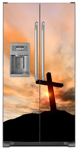Sunrise Cross Magnet Skin on Model Type Side by Side Refrigerator with Ice Maker Water Dispenser