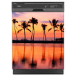Load image into Gallery viewer, Sunset Palm Trees Magnet Skin on Black Dishwasher