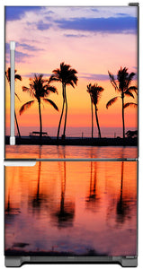 Sunset Palm Trees Magnet Skin on Model Type Bottom Freezer Refrigerator