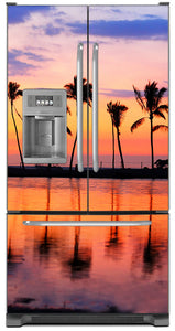 Sunset Palm Trees Magnet Skin on Model Type French Door Refrigerator with Ice Maker Water Dispenser