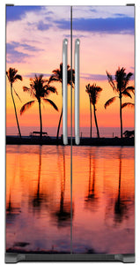 Sunset Palm Trees Magnet Skin on Model Type Side by Side Refrigerator