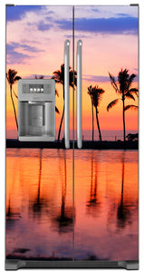 Sunset Palm Trees Magnet Skin on Model Type Side by Side Refrigerator with Ice Maker Water Dispenser
