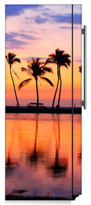 Sunset Palm Trees Magnet Skin on Side of Refrigerator